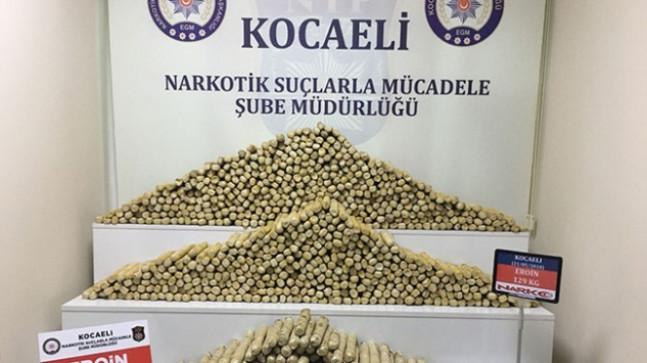 Kocaeli'de 129 kilogram eroin ele geçirildi